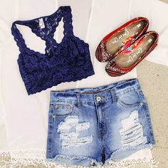 Beat the Heat with lace bralettes and high waisted shorts this summer. Add a kimono and patterned shoes for a more bohemian look. #fashion #freestyleclothingexchange #freestylefind #ootd #style #shopping #summerstyle #lace