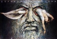 Antygona by Sofokles | Polish Theatre Poster, designer Wiesław Grzegorczyk, year: 1998