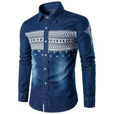New Arrival Men's High Quality denim Shirts Casual fashion slim Fit cotton Long Sleeve printing Jeans shirts