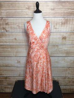 Talbots Coral Sleeveless Pleated Empire Waist Silk Dress Size 4 #Talbots #EmpireWaist