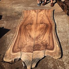 Guanacaste slabs headed home with a return customer to become their new TV stand. Live Edge Furniture, Log Furniture, Cabinet Furniture, Wood Slab Table, Wood Tables, Wood Stumps, Madeira Natural, Got Wood, Live Edge Wood