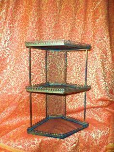 Mid Century Modern Metal Corner Shelf Atomic by OrphanedTreasure