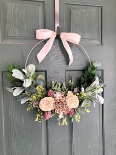 Spring wreath Spring wreaths for front door Summer wreath Door wreath Front door wreath Spring wreath Modern wreath Etsy Spring Front Door Wreaths, Diy Spring Wreath, Diy Wreath, Wreath Ideas, Tulle Wreath, Winter Wreaths, Burlap Wreaths, Holiday Wreaths, Modern Wreath