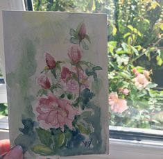 Garden Party. A small watercolour by Vandy Massey. June roses from bud to faded glory. Celebrating spring and early summer with art imitating nature. This month's theme is #seawgardenparty.  #watercolour #summergarden #gardenart #watercolourpainting
