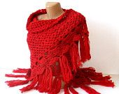 women fashion shawl, Hand crocheted Shawl, red shawl, wrap, stole, unique, for her