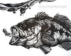 Largemouth Bass Drawing  Freaking Awesome http://glowmanart.com/