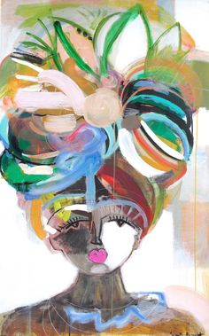 Artist Sally King Benedict borrows features from real and imaginary people for her series of abstract portraits. The colors, the eyelashes, the cheeks! Each of the 'faces' are so powerful and magnetic, I'd love to have any… Art And Illustration, Illustrations, Painting Inspiration, Art Inspo, Kunst Inspo, Abstract Portrait, Art Plastique, Face Art, Art Faces