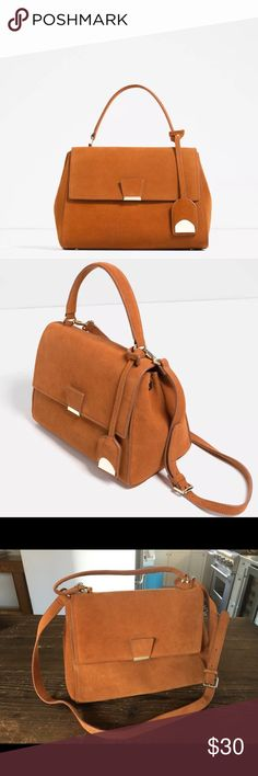 New Camel Suede City Bag Satchel Zara Top Handle Suede camel colored city bag from Zara. Never used it!! New without tags. Perfect condition. Great top handle or long strap option. Zara Bags Satchels