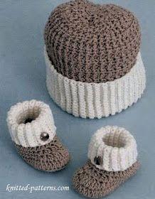 Fresh Crochet Baby Hats Baby Boy Booties and Hat Crochet Pattern Crochet Booties Pattern Crochet Baby Clothes, Crochet Baby Shoes, Crochet For Boys, Crochet Hats, Crocheted Baby Booties, Crochet Beanie, Crochet Baby Blanket Beginner, Baby Knitting, Free Knitting