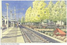 17th Ave & Rhine St Station Rendering - Portland-Milwaukie Light Rail (Orange line)