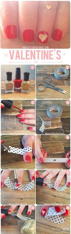 Hearts on nails with polish.