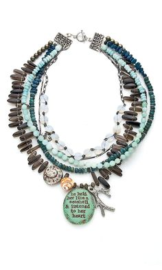 Multi-Strand Necklace with Amazonite Gemstone Beads and Seed Beads - Fire Mountain Gems and Beads
