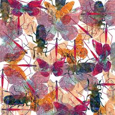The design has colorful insects and butterflies.