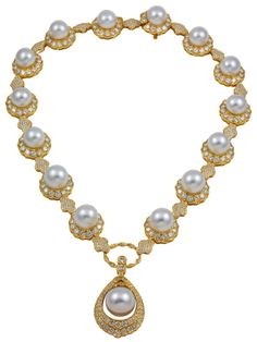 South sea pearl and diamond necklace | From a unique collection of vintage drop necklaces at http://www.1stdibs.com/jewelry/necklaces/drop-necklaces/