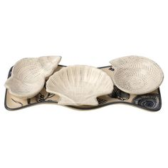 Showcasing 3 shell-shaped bowls and a complementing tray, this eye-catching ceramic set brings coastal appeal to your kitchen island or entryway console tabl...