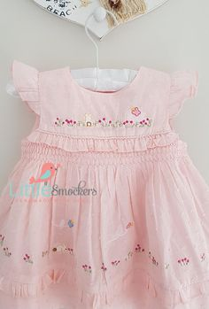 02c034bf7068 Beautiful pale pink spot voile hand smocked dress - sizes 3-6 months and  6-9 months