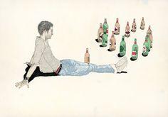 Beer Thinking Art Print