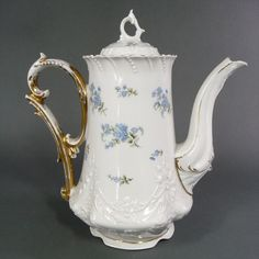 Antique Coffee Pot C Tielsch Blue Floral & Gold Trim Circa 1870-1900 from millcovetreasures on Ruby Lane