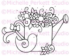 Digital stamp Image Gardening Garden Watering Can Birds stamping scrapbooking cardmaking. $4.00, via Etsy.