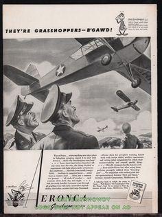 "1943 WW II AERONCA L3-C Grasshopper ""B'gawd"" WWII WW2 AD Walt Disney Logo"