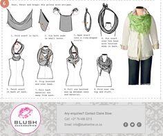 Miss Refashionista: 6 ways to tie your scarf (Via Coldwater creek) Ways To Tie Scarves, Ways To Wear A Scarf, How To Wear Scarves, Wearing Scarves, Fall Scarves, Look Fashion, Fashion Beauty, Autumn Fashion, Fashion Tips