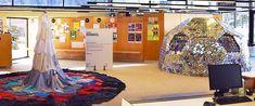 Curation -SAR '17 Found materials Art. Selected artists in public Library / (curadoria) Art fet amb materials reutilitzats /  (comisariado) Arte hecho con materiales reutilizados: Virginia Rondeel y J.C. Sulé-Duc Virginia, Space, Repurposed, So Done, Colors, Art, Floor Space, Spaces