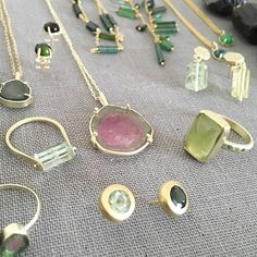 Tourmaline party right here. I can't get enough of these greens blues and pinks.     #tourmaline #gold #rings #necklaces #earrings #stacksarethenewblack #jotd #jewelryadd #jckbound #designerjewelry #sustainablejewelry #sustainable #eco #ecojewelry #ecochic #handcraftedjewelry #handmade #artisanmade #madeinbrooklyn #finejewelry #finejewellery #judipowersjewelry #beryl #crystal #green by judipowers