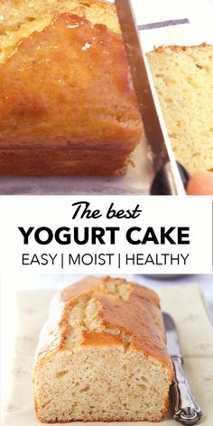 This moist and mouth-watering yogurt cake with hints of lemon and fruity jam tastes delicious and it's super easy to make. Plus it's loaded with yogurt and it's low sugar. Healthy Yogurt, Healthy Sweets, Healthy Baking, Easy Healthy Deserts, Healthy Cake Recipes, Sweet Recipes, Baking Recipes, Keto Recipes, Healthy Lemon Cake Recipe