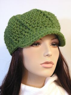 Great Green Crocheted Hat...want it!