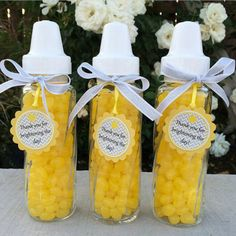 Instead of Hershey kisses, could have 3 bottles w/ different candy- yellow skittles/starburst?  one with some white type of candy and one with hershey kisses...guess how many in each bottle? Baby Shower Candy, Baby Shower Themes, Baby Shower Parties, Baby Shower Decorations, Shower Party, Sunflower Baby Showers, Baby Shower Flowers, Sunflower Nursery, Baby Shower Yellow