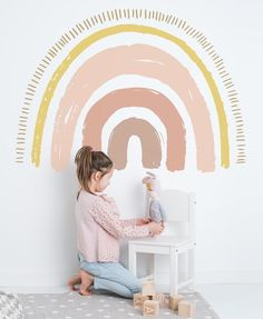 Pastel Large Boho Rainbow - Wall Decals - Kids bedroom inspo ☀ - Pastel Large Boho Rainbow – Wall Decals – The Lovely Wall Company -