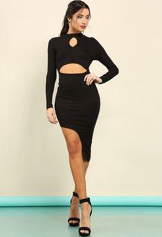 Reversible Ribbed Asymmetrical Cutout Dress