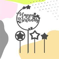 Birthday Clipart, Birthday Diy, Fondant Flower Cake, Fondant Bow, Fondant Cakes, Happy Birthday Calligraphy, Cake Frame, Cricut Cake, Diy Cake Topper