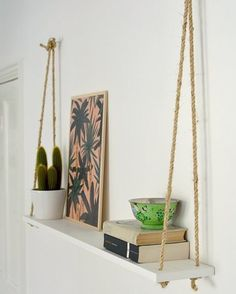 DIY Hacks for Renters - DIY Easy Rope Shelf - Easy Ways to Decorate and Fix Thin. DIY Hacks for Renters - DIY Easy Rope Shelf - Easy Ways to Decorate and Fix Things on Rental Property - Decorate Walls, Cheap Ideas for Maki.