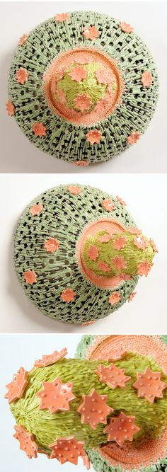 """by American ceramics artist Tammie Rubin. She describes her work as an exploration of """"invented narratives utilizing recognizable objects and ideas of the role of ornament and trophy in our daily lives."""""""