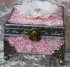 Altered Jewelry Box Trinket Holder Best Gift Idea For Her - Ooak