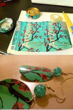 DIY Soda Can Earrings DIY Projects. If you love green crafting then you'll love these DIY earrings. Turn old cans into beautiful jewelry! Recycled Jewelry, Recycled Crafts, Diy Crafts, Recycled Clothing, Recycled Fashion, Soda Can Crafts, Soda Can Art, Aluminum Can Crafts, Aluminum Recycling