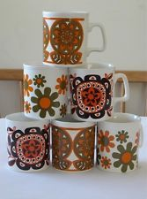 Vintage 1960s Staffordshire Potteries Mugs Full Set x6
