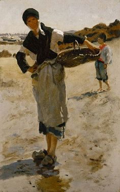 "John Singer Sargent,  1877,   ""Breton Woman with a Basket"", Sketch for ""Oyster Gatherers of Cancale"", oil on canvas"