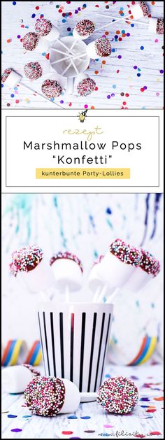 "Schnelles Karnevals-Rezept: Marshmallow-Schoko-Pops ""Konfetti"" - Jennifer W. Marshmallow Pops, Chocolate Covered Marshmallows, Recipes With Marshmallows, Party Buffet, Karneval Snacks, Lego Cake Pops, Carnival Food, Carnival Recipe, Spring Desserts"