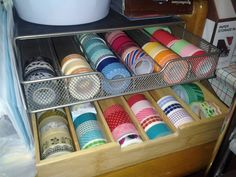 Great Idea for storing washi tape. Who knew it was the same size as K cups!