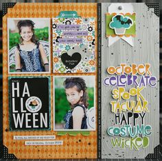 Halloween *NEW Bella Blvd* - Scrapbook.com - Fun title using fussy cut words from patterned paper.