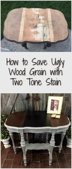 Victorian antique parlor table makeover with damaged wood grain. Save ugly wood grain with a two tone stain on your next painted furniture project via - April 14 2019 at Decor, Furniture, Redo Furniture, Painted Furniture, Wood Grain, Repurposed Furniture, Table Makeover, Parlor Table, Coffee Table
