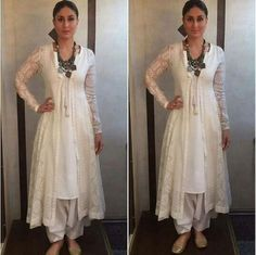 """Kareena Kapoor wearing white shalwar kameez with chunky necklace for her movie """"Ki and Ka"""" Promotions"""