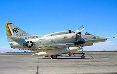 "USMC Douglas A-4F Skyhawk of VMA-223 ""Bulldogs"" Attack Squadron sitting on the base ramp. 1972"