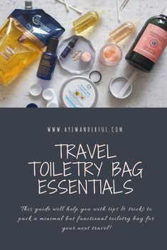What's in my Travel Toiletry Bag - The Essential Travel Toiletries Kit - Aye Wanderful Paris Travel, Japan Travel, Japan Trip, Travel Essentials, Travel Tips, Travel Ideas, Travel Toiletries, Packing Light, Travel Light