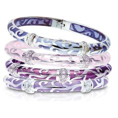 Veranda Sterling & White Topaz Lavender Jade Bangle by Angelique de Paris at @Smyth Jewelers