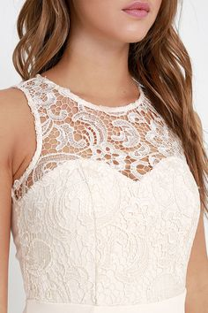 Oak and Elm Cream Lace Maxi Dress at Lulus.com!