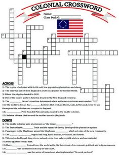 U.S. History: 13 Colonies Colonial Crossword. Students could do a colonial crossword as homework to prove their knowledge of the unit. -T.R.