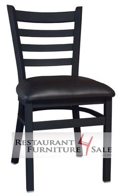 GLADIATOR Ladderback Metal Chair with Black Vinyl Seat and Extra Front Brace(Limited Lifetime Frame Warranty)